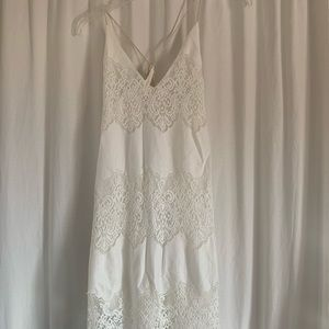 Astr the Label Ivory Lace Maxi Dress